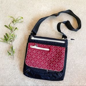 Sherpani Red & Black Floral Crossbody Purse